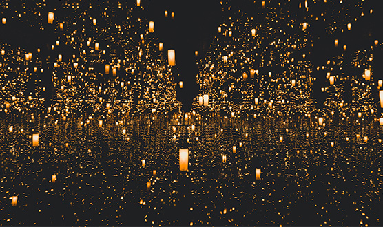 Hundreds of floating candle lanterns