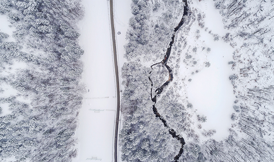 Overhead view of winter terrain