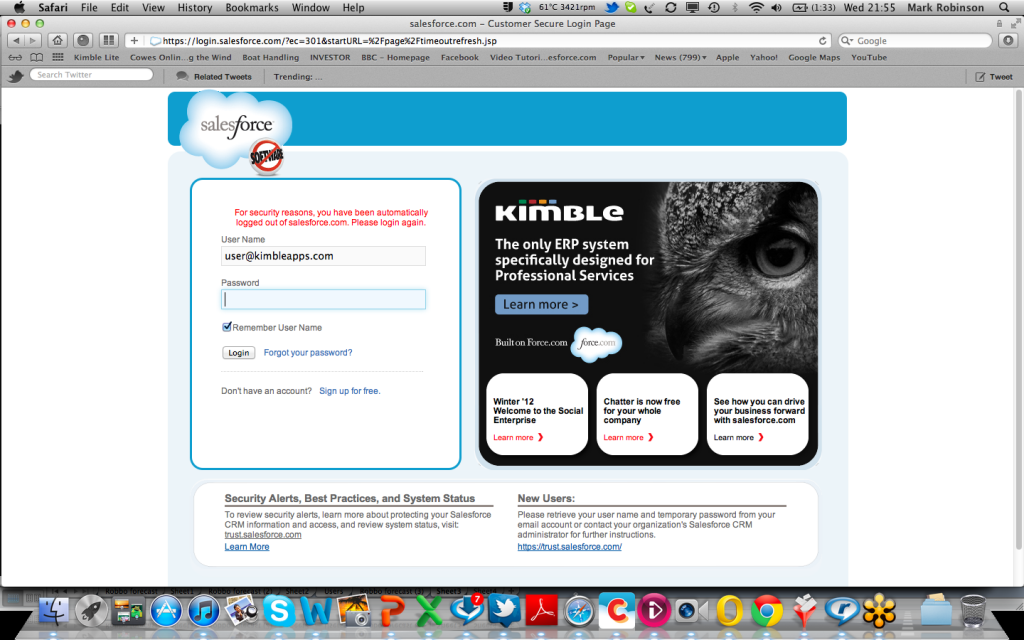 Kimble Salesforce.com login page screen shot