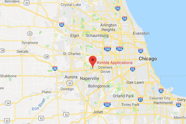 Map overview of Kimble Applications' Chicago office